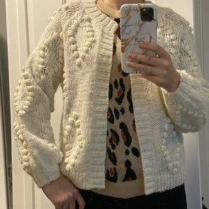 Lucky Brand XS of white bobble chunky cardigan